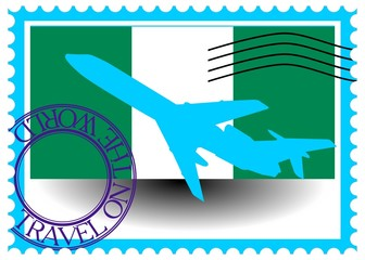 "Stamp ""Nigeria (Abuja), travel by plane on the world"""