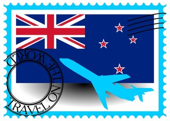 "Stamp ""New Zealand (Wellington), travel by plane on the world"""