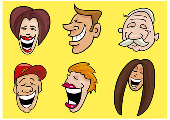 set of smiling faces