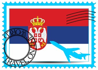 "Stamp ""Serbia (Belgrade), travel by plane on the world"""