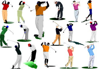 Sixteen Golfers hitting ball with iron club. Vector illustration