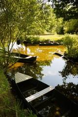 Barques dans le marais de la Grande Brière
