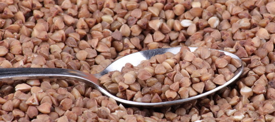 buckwheat background and teaspoon