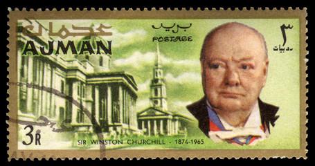 Vintage Ajman Winston Churchill postage stamp