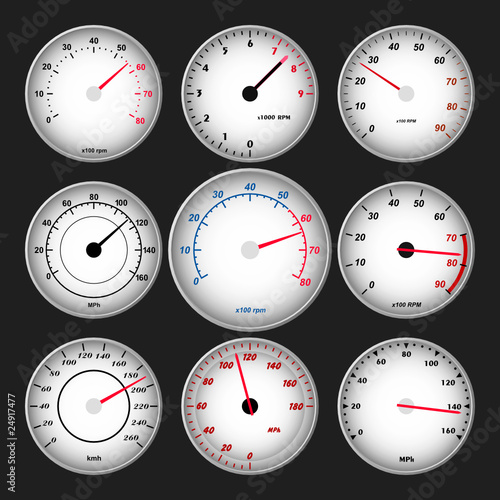 Speedometer and RPM gauge set