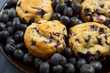 plate of blueberry muffins