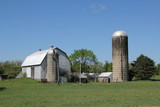 White barn and silos