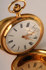 The historic golden decorate pocket clock