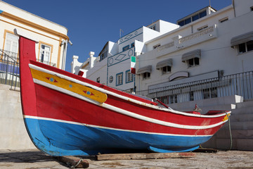 Traditional Portuguese fishing boat in Algarve, Portugal