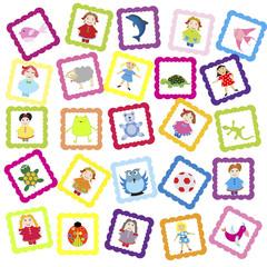 Baby background with various toys, for kindergarten