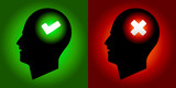 Tick & Cross Sign Human Heads - Right & Wrong Mind Concept poster