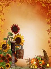 Jesienne tło ze słonecznikami