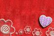 fondo tarjeta roja corazon y margaritas grunge