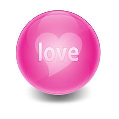 """Esfera brillante con texto *love"""""""