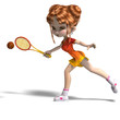 cartoon girl with racket plays tennis. 3D rendering with clippin
