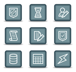 Database web icons, grey square buttons