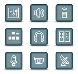 Media web icons, grey square buttons