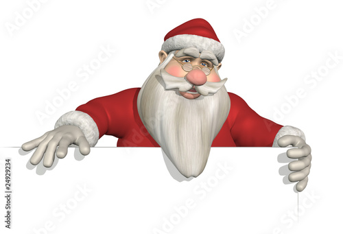 Santa Holding Sign Edge - 3D render