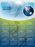 English calendar for year 2011 with Earth globe