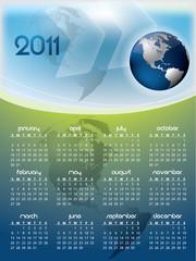 English calendar for year 2011 with Earth globe