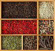Assortment of peppercorns in wooden box