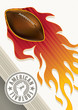 American football banner with stylized fire.