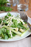 Fresh salad with broad beans, green beans and cheese