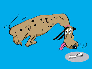 dalmatian jumping dog cartoon - vector