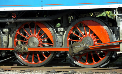 detail of steam locomotive, depot Luzna, Czech Republic