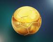 Detaily fotografie zlatý fotbal (fotbalový míč), na pozadí shiney