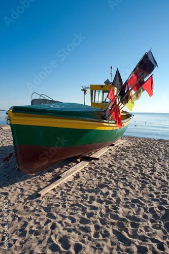 fishing boat in Sopot morning time
