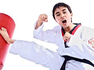 child training martial arts isolated on white background
