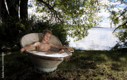 Retro Bathtub Boy Sleeps in Sunshine