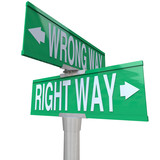 Right vs Wrong Way - Two-Way Street Sign poster