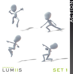Lumiis 3D-Figuren weiss Action Set 1