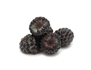 Pile of black raspberries, isolated