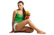 beautiful woman sitting with three colour pepper