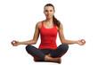 beautiful woman sitting in yoga pose practise yoga