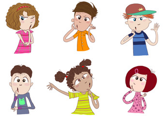 different races of kids or teens thinking, wondering, pondering