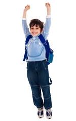 School boy raising his arms in joy