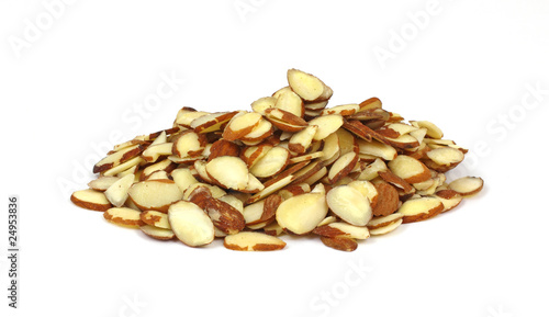 Stack Sliced Raw Almonds