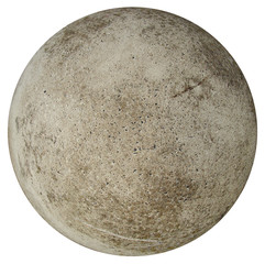 round concrete ball on a white background resembling earth
