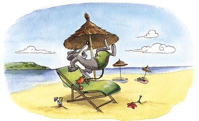 Granchio che pizzica topolino sulla spiaggia
