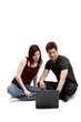 young couple with notebook (isolated with shadows)