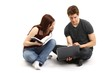 young couple - notebook vs. book