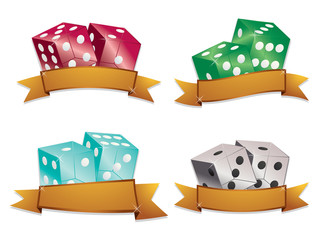 dice with gold banners