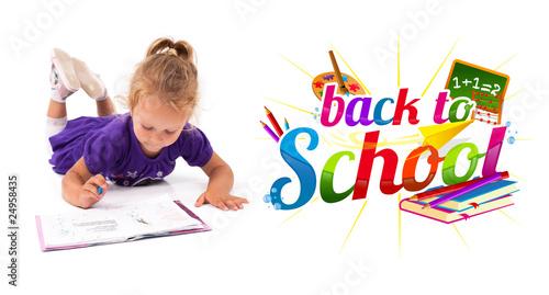 Happy little girl with notebook © ra2 studio