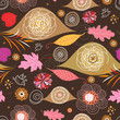 Seamless pattern from autumn leaves and flowers