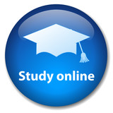 STUDY ONLINE Web Button (e-learning university back to school) poster