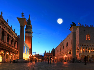 The night scene of San Marco Plaza in Venice